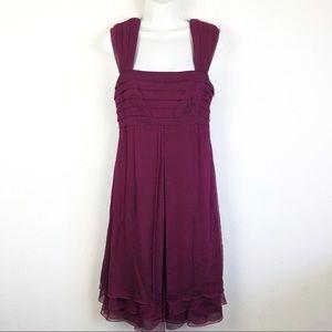 Tadashi Silk, Burgundy, Sleeveless Midi Dress 6